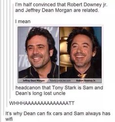 Well, it could be canon before Destiel. Though, I really want Destiel. Dean Winchester, Superwholock, Sam Dean, Sammy Supernatural, Supernatural Quotes, The Lord, Fandom Crossover, Tumblr, Downey Junior