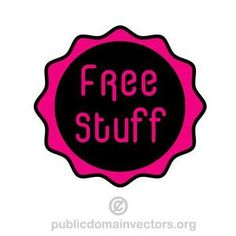 Vector graphics of a sticker in purple and black colors with text