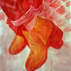 red jeans by Inese Auzina Red Jeans, Red And White, Colours, Yellow, Drawings, Painting, Art, Art Background, Painting Art