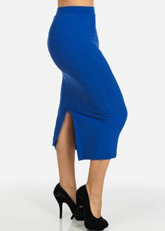 High Waisted Bodycon Midi Skirt (Blue)