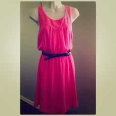 """Hot Pink Summer Dress Fun hot pink dress (belt not included) Nice and light for the summer with beautiful detail on the back (see pics). Measurements: Length=35 1/2"""". Waist= stretches up to 18"""". Chest=17"""". H&M Dresses"""