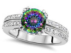 Original Star K(tm) Round 7mm Rainbow Mystic Topaz Engagement Wedding Ring