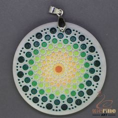 JEWELRY PENDANT PAINTED MANDALA WITH  BEADS WHITE GEMSTONE ZR8000083 #ZL #Pendant