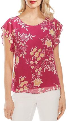 Women's Vince Camuto Flutter Sleeve Floral Top, Size X-Large - Pink Western Tops, Flutter Sleeve Top, Vince Camuto, Blouse Designs, Floral Tops, Fashion Dresses, Couture, Womens Fashion, Sleeves