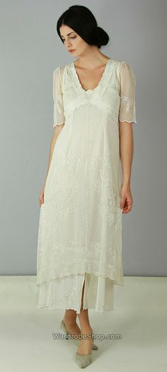All the beauty sits above a cotton slip and a satin bottom _ wardrobe shop,  #downton #abbey #fashion #wedding #dress