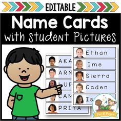 Free Editable Name Cards with Picture Free editable name cards that allow you to quickly and easily add student pictures and names. Just type your names directly into the document in upper or lowercase your choice. Then, add photos wi Preschool Names, Name Activities, Kindergarten Classroom, Kindergarten Activities, Beginning Of The School Year, First Day Of School, Student Picture, Student Images, Pre K Pages