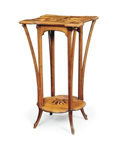 A GALLÉ MARQUETRY AND CARVED BEECHWOOD TWO-TIER TALL STAND - CIRCA 1900