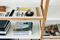 Here is another clever way to organize things - Lap Shelving by Marina Bautier, produced by Case Furniture. Instead of traditional shelves, the system features folded sheet metal components, suppor.