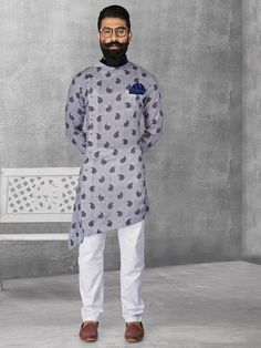 Shop Linen blue color printed kurta suit online from G3fashion India. Brand - G3, Product code - G3-MKS0509, Price - 5295, Color - Blue, Fabric - Linen,