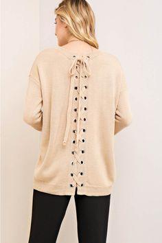 Scoop Neck Self-Tie Back Sweater Top