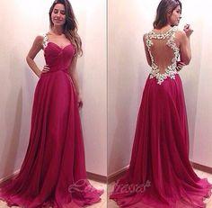 Sexy Open Back Long Prom Dresses Sweetheart Prom Dresses, Long Elegant Burgundy Prom Dresses, 2016 W on Luulla