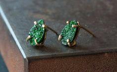 Image of Green Uvarovite Garnet Stud Earrings- as seen on Rachel Bilson