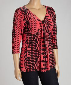 Look what I found on #zulily! Red & Black Geo Three-Quarter Sleeve Top - Plus #zulilyfinds