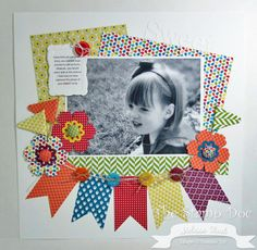 Stampin' Up! Scrapbook Layout  by Melissa Stout: Artisan 3 Me: Love the button/flag banner and the rectangular offset papers to frame the large pic.  Cute!