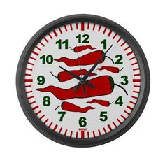 Red Chili Pepper Chef Wall Clock by TopTeeDesigns - CafePress Red Chili Peppers, Wall Clock Design, Unique Wall Clocks, Kitchen Themes, Contemporary Design, Chile, Stuffed Peppers, Decorations, Stuffed Pepper