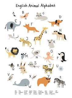 Animal Alphabet Art Print by little cube