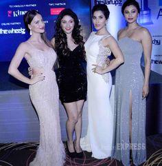Elli Avram, Manjari Phadnis, Sophie Choudry and Daisy Shah at the Exhibit Tech Awards 2015. #Bollywood #Fashion #Style #Beauty #Hot #Sexy