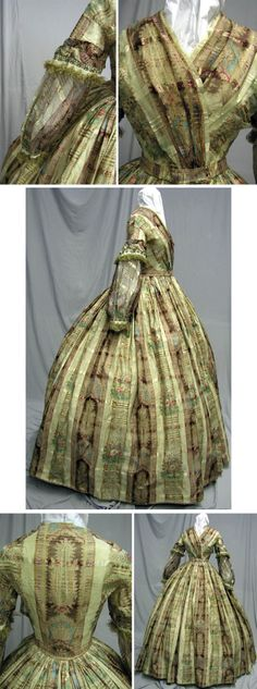 Dress, circa 1860s. Sheer silk blend lined in off-white cotton. Extant Gowns.