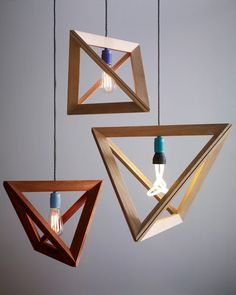 lampenrahmen by Herr Mandel love these #modern #geometric #lighting #fixtures with the cool #light #bulbs