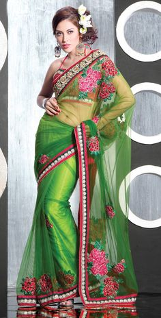 Green Net Saree 19006 With Unstitched Blouse
