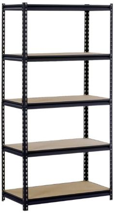 The Edsal UR185L-BLK five-shelf standing shelf unit has a 16-gauge steel rack and shelves made of particle board to support an 800-lb. per shelf capacity and a 4000-lb. total capacity when the weight ...