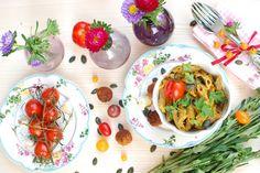 Pasta mit Kürbispesto und Vleischbällchen, vegan