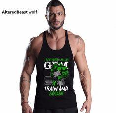 07d1d4e1c43 Discount This Month Brand Sexy Men Fitness Tank Tops HULK print  Bodybuilding Men O-Neck