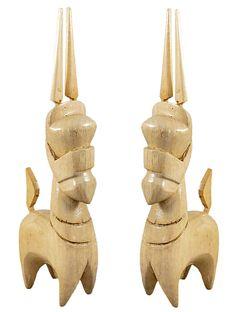 Set of 2 Bankura Horses (Wood) Wood Sculpture, Sculptures, Horse Artwork, Wooden Walls, Animal Design, Terracotta, Wood Crafts, India, Horses