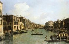 Giovanni Antonio Canal (called Canaletto),Grand Canal From The Campo Santa Sofia Towards The Rialto Bridge oil painting reproductions for sale