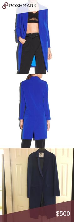 MILLY Italian cady stretch coat Long blazer coat in navy / cobalt with front pockets. Never worn! Fits like a 2/4, more of a boxy fit Milly Jackets & Coats