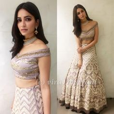 Kriti Kharbanda looks every bit regal in a 'Ekaam' creation at their store launch event in Indore! Indian Bridal Wear, Indian Wedding Outfits, Bridal Outfits, Indian Outfits, Indian Wear, Indian Engagement Outfit, Choli Designs, Lehenga Designs, Saree Blouse Designs