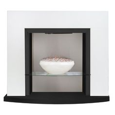 Adam Athena Fireplace Suite in White with Electric Bowl Fire, 41 Inch | Fireplace World