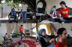 These photos of Ahmad and Fatima, a young married couple who, despite Ahmad having no arms and Fatima having no legs, take care of each other: