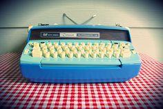 "Vintage Smith-Corona ""Coronet"" Automatic 12 Blue Typewriter, Refurbished in Fully Operational Condition Typewriter For Sale, Vintage Typewriters, Conditioner, Midcentury Modern, Fairy Tales, Blue, Etsy, Corona, Typewriter"