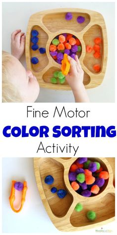 Fine motor color sorting activty
