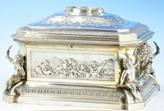 An outstanding 19th century silver casket of massive proportions. By J. C. Klinkosh Vienna circa 1890.