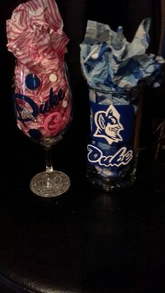 A hand painted Duke wine glass I painted.