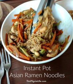 These noodles were mushy. Maybe I need less liquid? Or to cook the noodles separately. The Instant Pot is making quick and delicious meals so much easier! Here is one meal idea for Asian ramen noodles that only takes fifteen minutes from start to finish! Ramen Recipes, Quick Recipes, Chicken Recipes, Cooking Recipes, Healthy Recipes, Noodle Recipes, Ip Chicken, Crockpot Recipes, Instant Pot Pressure Cooker