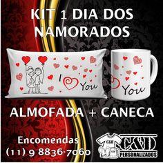 Kit dia dos Namorados. Caneca 325ml  Almofada 15x30cm. Produção em 03 dias úteis.  #diadosnamorados #caneca #almofada #amor #presente #namorado #namorada #love