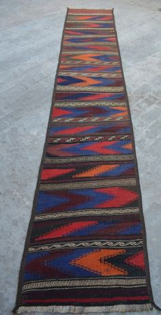 12 5 X 2 3 Feet Wool Handwoven Afghan Tribal Long Kilim Runner Sumik