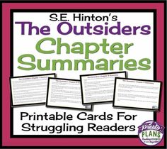 OUTSIDERS: Printable Chapter Summary Cards For Review and Reference from Presto Plans on TeachersNotebook.com -  (8 pages)  - Use these chapter summary cards for S.E. Hinton's novel The Outsiders as both a reference and as a resource to help your students