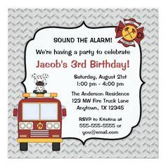 Trucks Birthday Party Invitations Fire Truck Dog Birthday Party Invitations