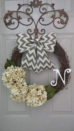 Spring Wreath, Summer Wreath, Year Round Wreath, Hydrangea Wreath, Door Wreath, Monogrammed Wreath on Etsy, $45.00