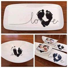 Footprint Heart Plate Keepsake for Valentine's Day!