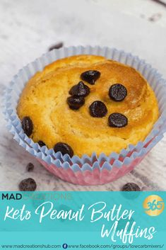 Mad Creations Keto Peanut Butter Muffins with choc chips are totally amazeballs Choc Chip Muffins Recipe, Keto Muffin Recipe, Peanut Butter Muffins, Sugar Free Peanut Butter, Keto Breakfast Muffins, Keto Breakfast Smoothie, 500 Calories, Almond Recipes, Low Carb Recipes