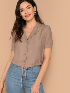 Product name: Notch Collar Drawstring Hem Buttoned Blouse at SHEIN, Category: Blouses Look Fashion, Fashion News, Fashion Outfits, Woman Fashion, Fashion Clothes, Camel Style, Summer Shirts, Blouse Styles, Types Of Sleeves
