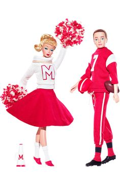 "Campus Spirit™ Barbie® Doll and Ken® Doll Giftset | Barbie Collector ~~ This vintage reproduction Barbie® doll wears a re-creation of 1964's ""Cheerleader"" Barbie® Fashion #876, while Ken® doll is devastatingly handsome dressed in ""Touchdown"" Ken® Fashion #799, originally released in 1963. Two favorite fashions — finally available to you again and housed in packaging featuring vintage art!"