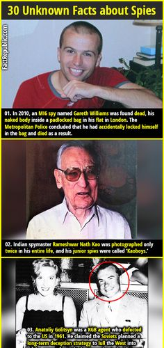 In an spy named Gareth Williams was found dead, his naked body inside a padlocked bag in his flat in London. The Metropolitan Police concluded that he had accidentally locked himself in the bag and died as a result. Wtf Fun Facts, Random Facts, Random Things, Spy Names, Funny Messages, Geek Stuff, Spy Stuff, History Facts, Trivia
