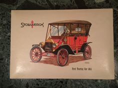 Stollwerck Candy Box Circa 1963 Novelty Cardboard Box with Lid and Paper Insert Graphic By Fredrick Elmiger of 1911 Ford Touring Car by MidCenturyAmericana on Etsy