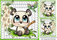 Cute panda little dragonfly flowers and toppers 8x8 on Craftsuprint - Add To Basket!